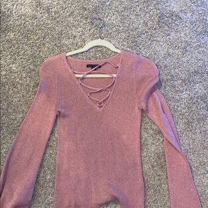 pink cross neck blouse